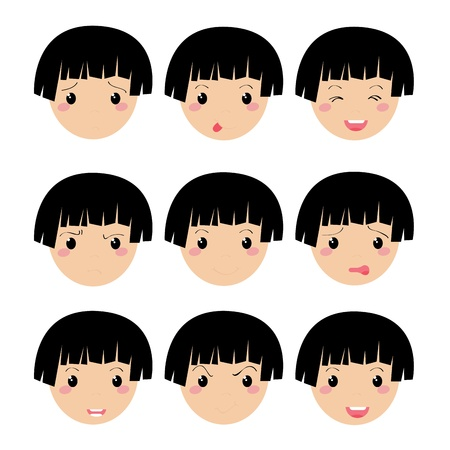 girl expression face on white background Vector