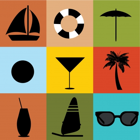 beach icons on square with different colors Vector