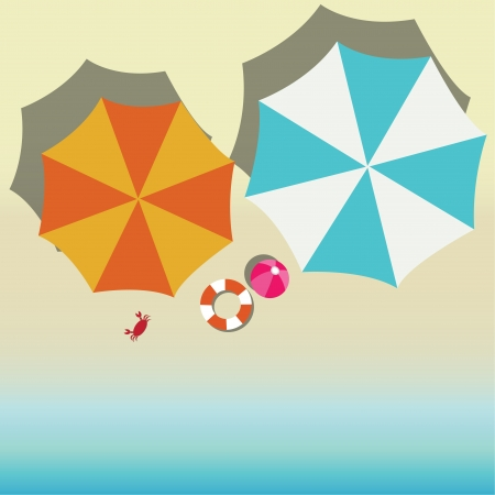 beach umbrella: abstract umbrellas on abstract beach background Illustration