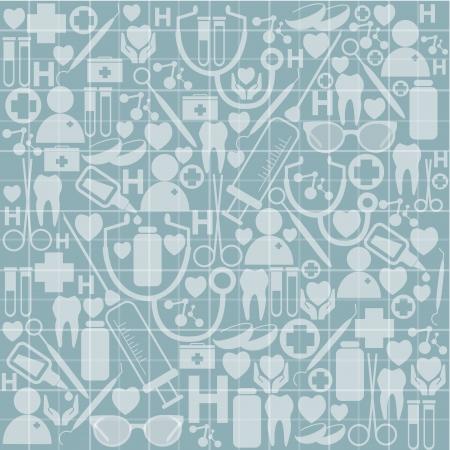 abstrakte medizinische Instrumente auf blauem Hintergrund