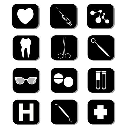 medical icons in black square on white background Vector