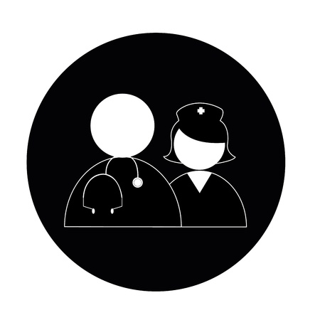 nurse and doctor icons on black circle Vector