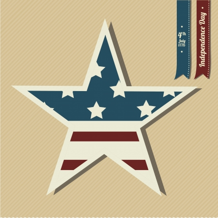 Independence star on light yellow background Vector