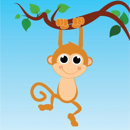 cute cartoon monkey: monkey hanging from a tree on abstract sky background