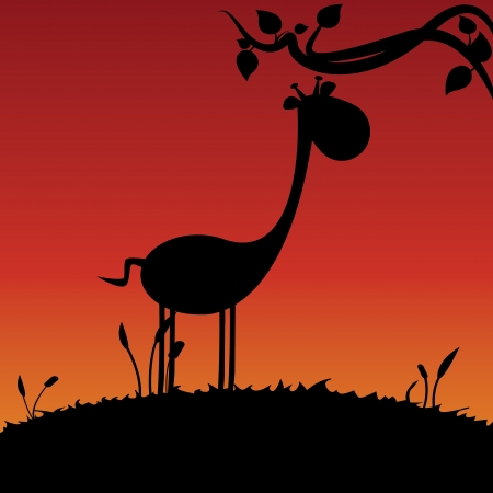 silhouete: giraffe silhouete on field background, vector illustration
