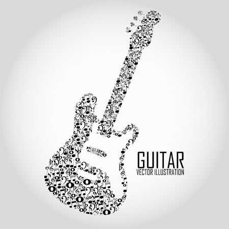 abstract guitar with different music notes on special gradient backgorund Vector