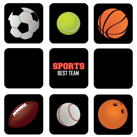 soccer coach: sports balls icons on black squares