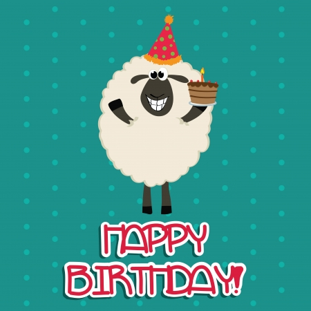 sheep with a cake celebrating a happy birthday party Vector