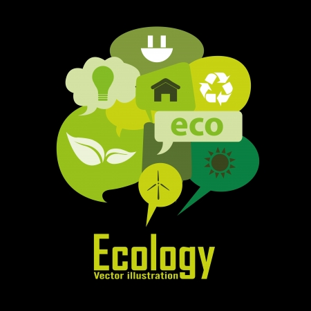 ecology icons in different green text box Vector