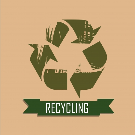 recycling icon on pink background Vector