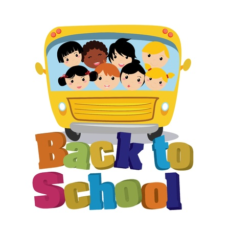 bus school with text back to school on white background Vector