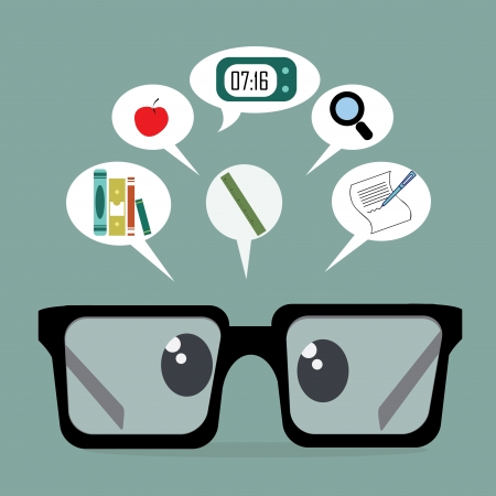 semester: back to school icons with an abstract glasses on blue background