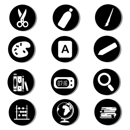 school icons on black circles Stock Vector - 20722381