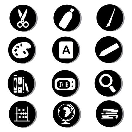 school icons on black circles Stock Vector - 20722381
