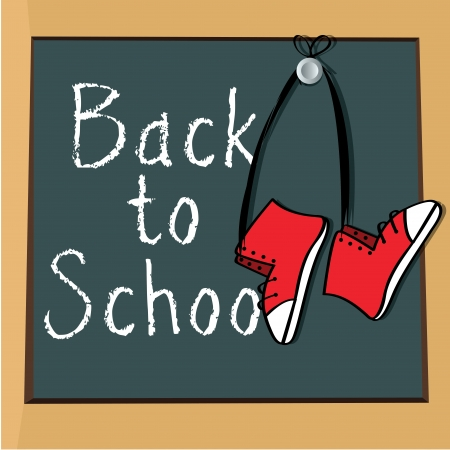 back to school write on board and shoes with ribbon Stock Vector - 20722391
