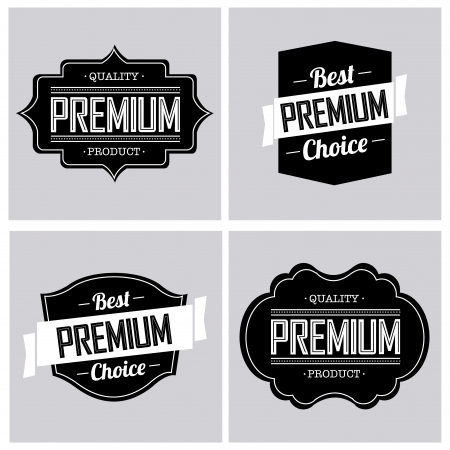 premium labels on light gray squares Stock Vector - 20722447