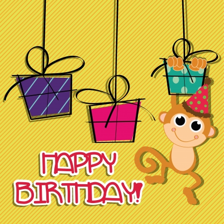 Happy Birthday Card With Monkey And Presents Royalty Free Photos – Birthday Card Monkey