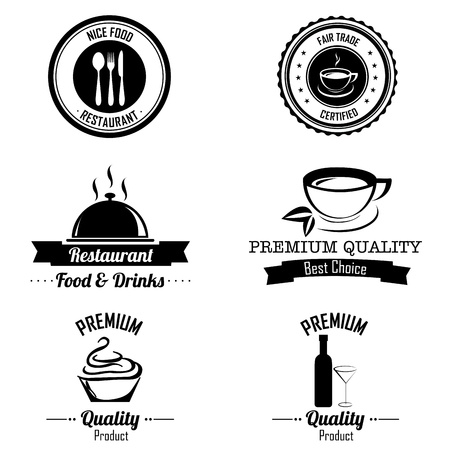bakery price: different food labels on white background