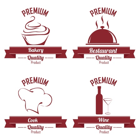 bakery price: different restaurant labels on white background