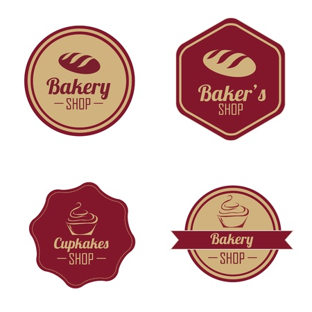 bakery price: different bakery labels on white background