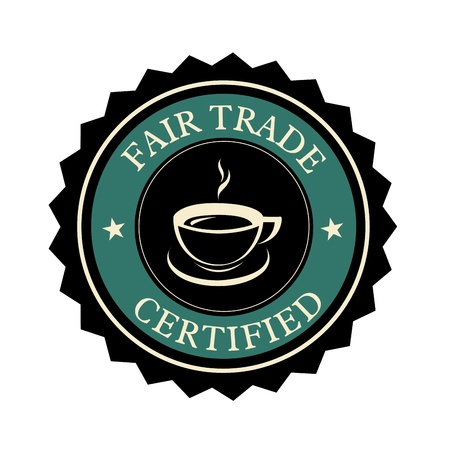 fair trade: coffee fair trade label on white background