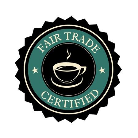 trade fair: coffee fair trade label on white background
