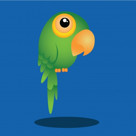 cute green parrot on blue background with shadow effect