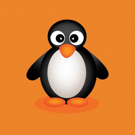 cute penguin on orange background with shadow effect 向量圖像
