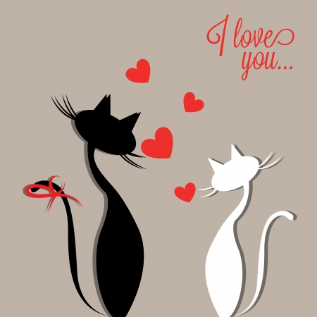 two cats in love on gray background with abstract heart Vector