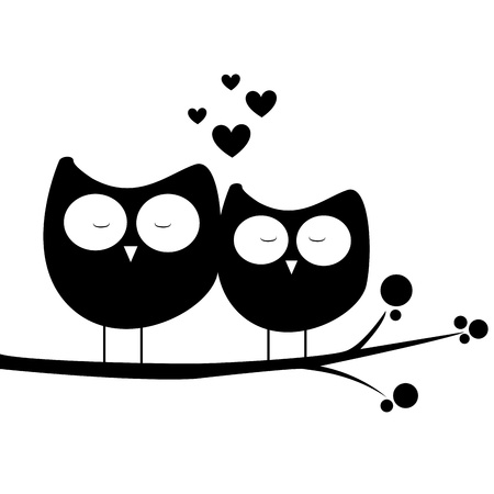 black white: abstract owls in love on white background