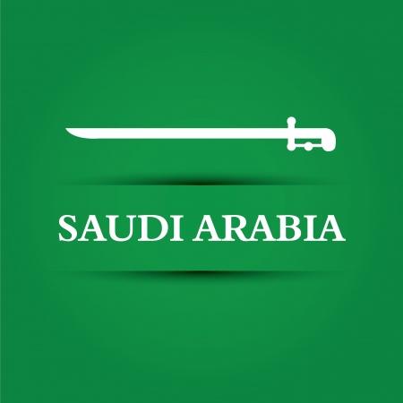 allusive: Saudi Arabia text on special background allusive to the flag Illustration