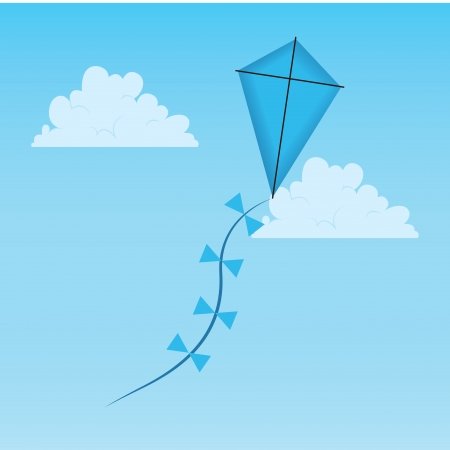 blue kite on abstract sky background