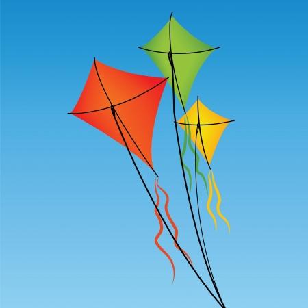 抽象的な空を背景にオレンジ、緑、黄色の凧