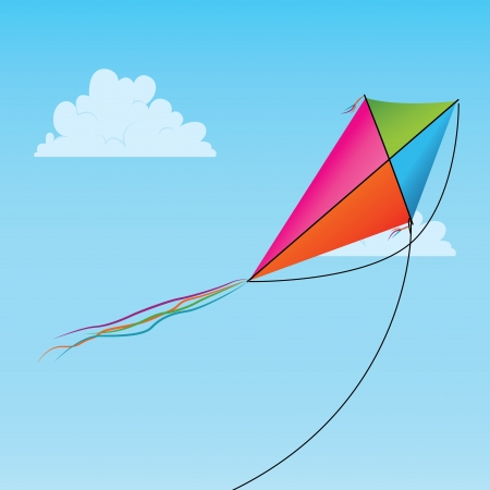 colorful kite on abstract sky background