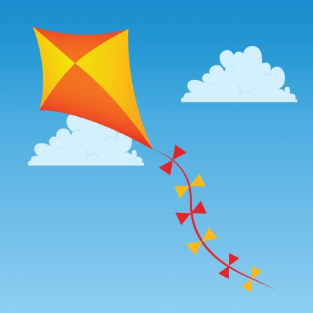 orange and yellow kite on abstract sky background 向量圖像