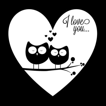 dessin noir et blanc: deux hiboux dans l'amour sur le coeur abstrait fond d'amour
