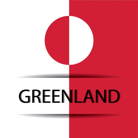 greenland: Greenland text on special background allusive to the flag Illustration