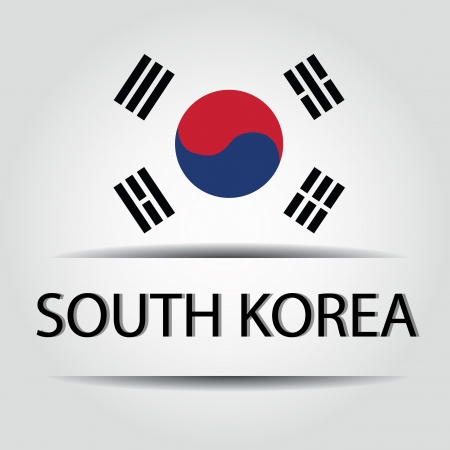 allusive: South Korea text on special background allusive to the flag Illustration