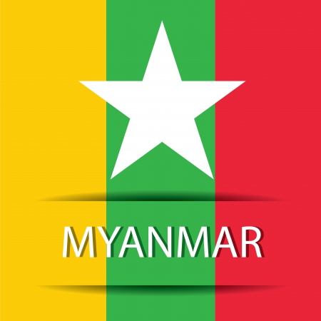 Myanmar text on special background allusive to the flag