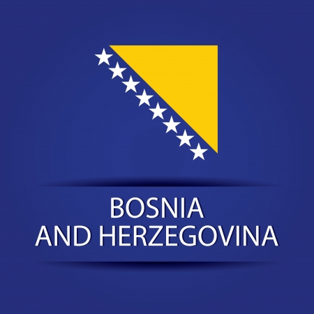 allusive: Bosnia and Herzegovina text on special background allusive to the flag Illustration