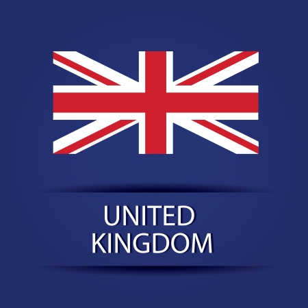 United Kingdom text on special background allusive to the flag