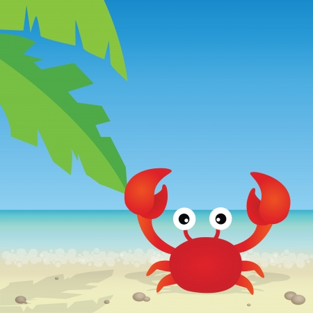 cute crab on abstract beach background Vector