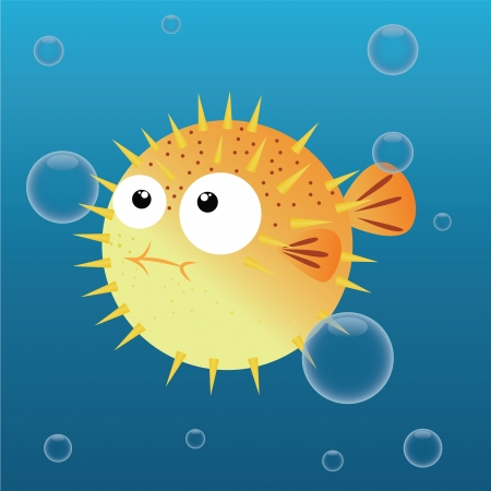 blowfish: cute blowfish on abstract sea background Illustration