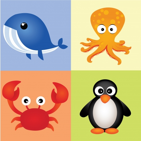 different water animals on squares with different color Vector