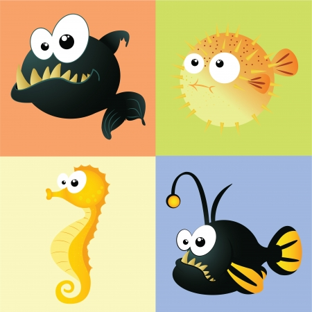 blowfish: different water animals on squares with different color