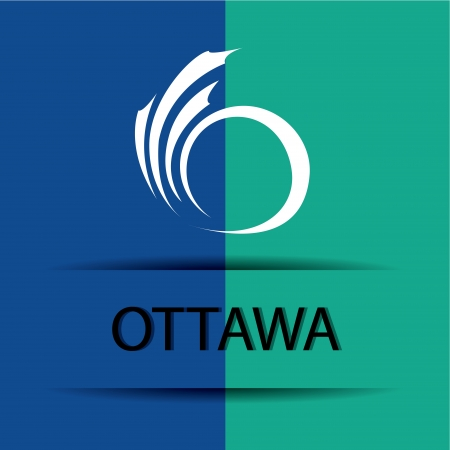 allusive: Ottawa text on special background allusive to the flag
