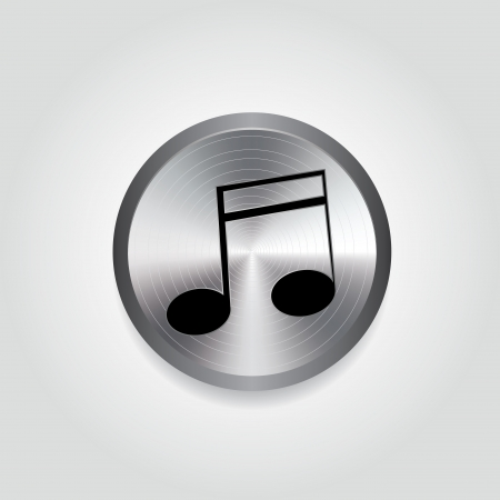 silver circle: music note on abstract silver circle on white background Vettoriali