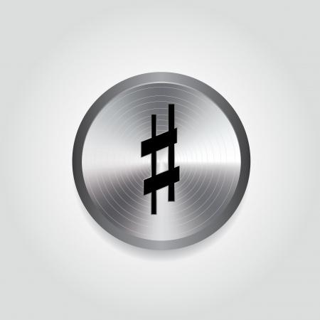 silver circle: nota musicale su cerchio d'argento su sfondo bianco Vettoriali