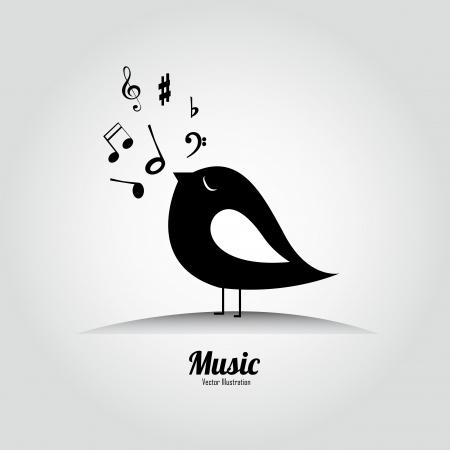 bird singing on white background Vector