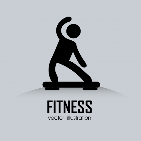 step fitness: abstract man doing exercise on gray background Illustration